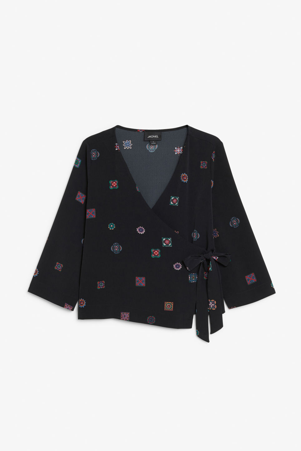 Front image of Monki silky blouse in black