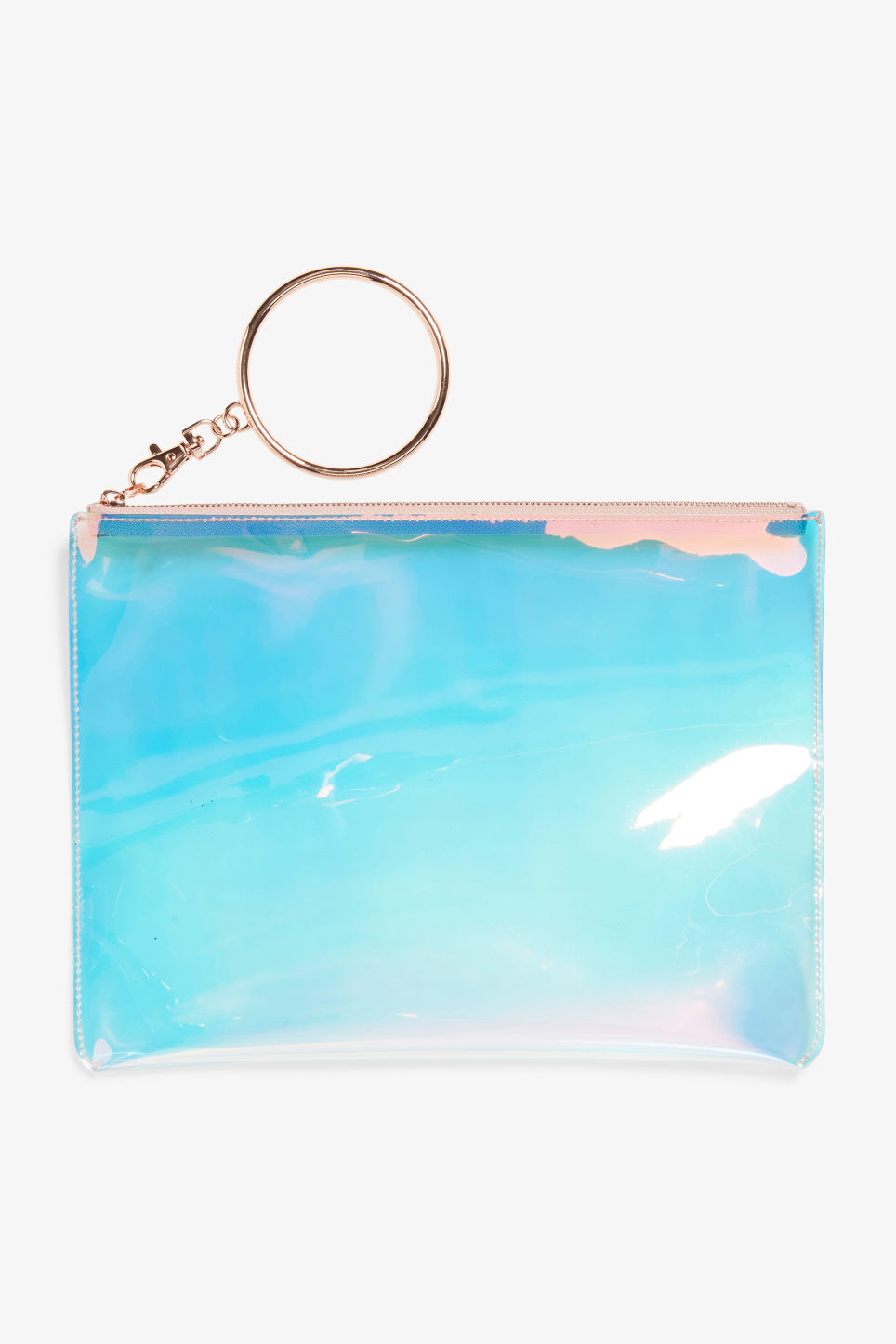Front image of Monki transparent zip case in silver