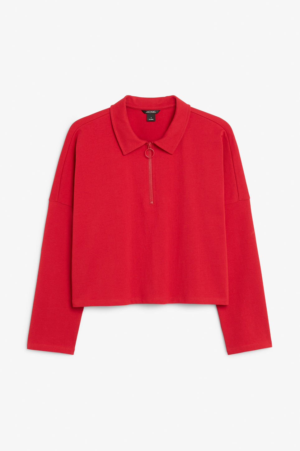 Front image of Monki front zip top in red