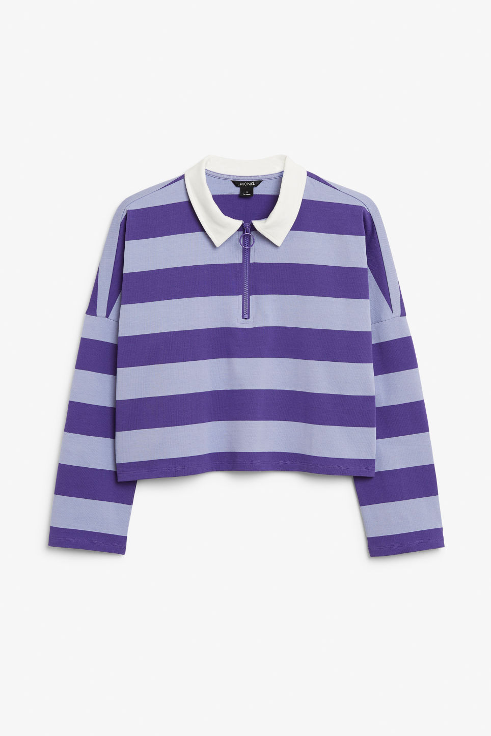 Front image of Monki front zip top in purple