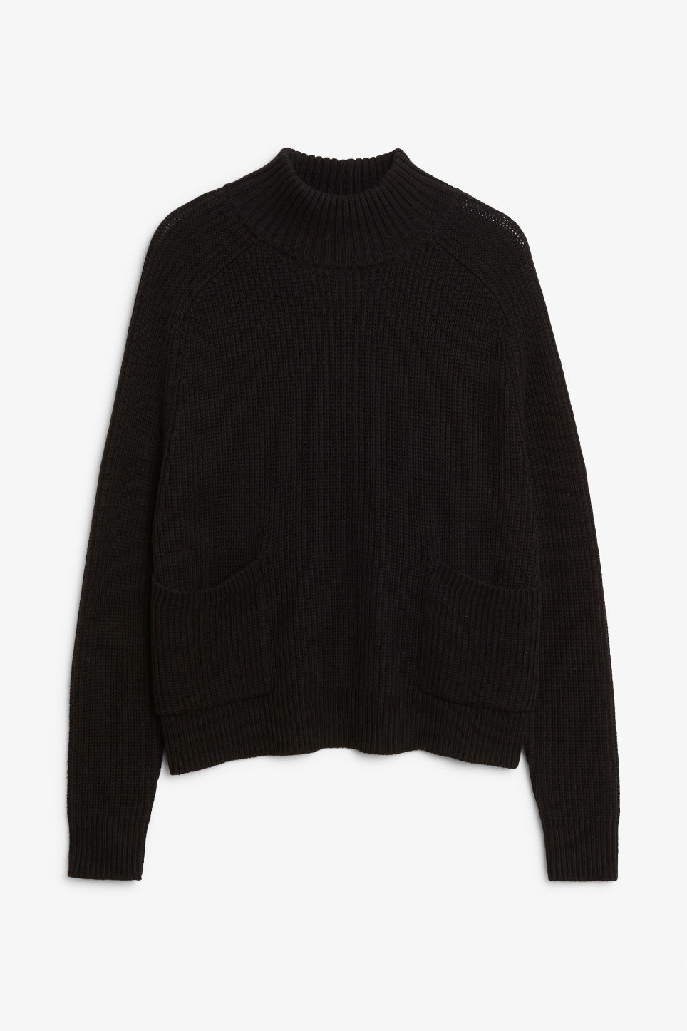 Front image of Monki knitted turtleneck top in black