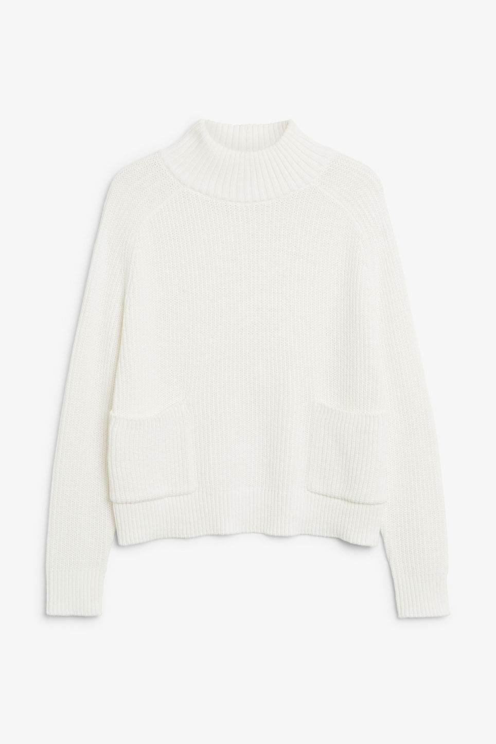 Front image of Monki knitted turtleneck top in white