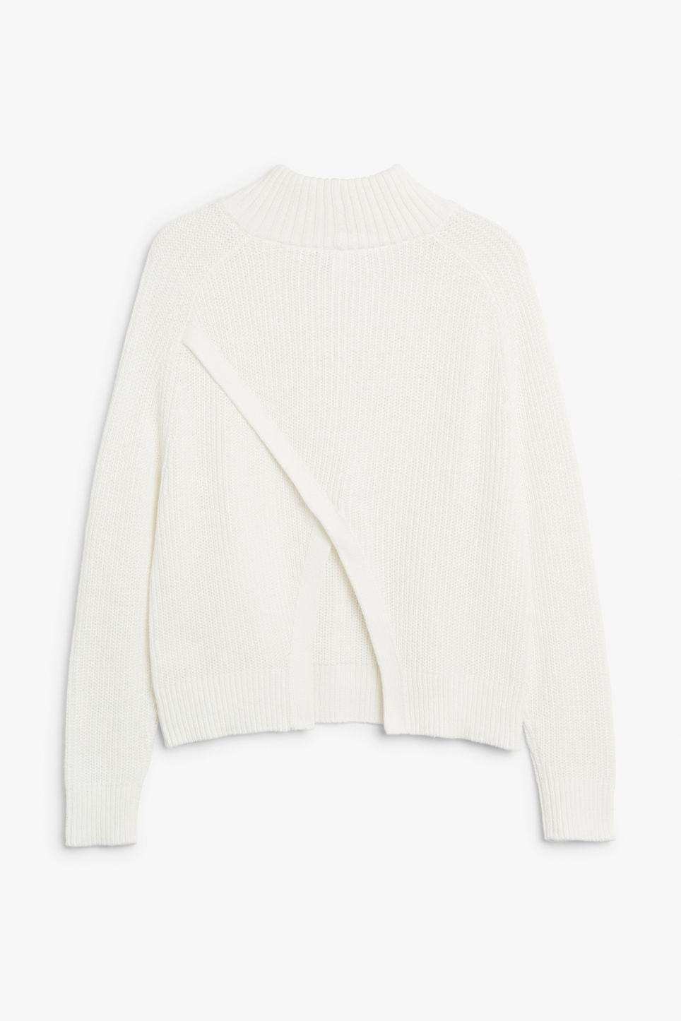 Back image of Monki knitted turtleneck top in white