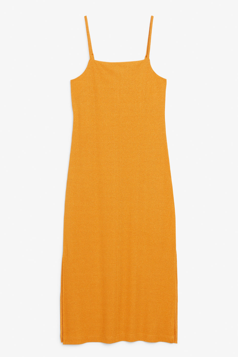 Front image of Monki side slit dress in orange