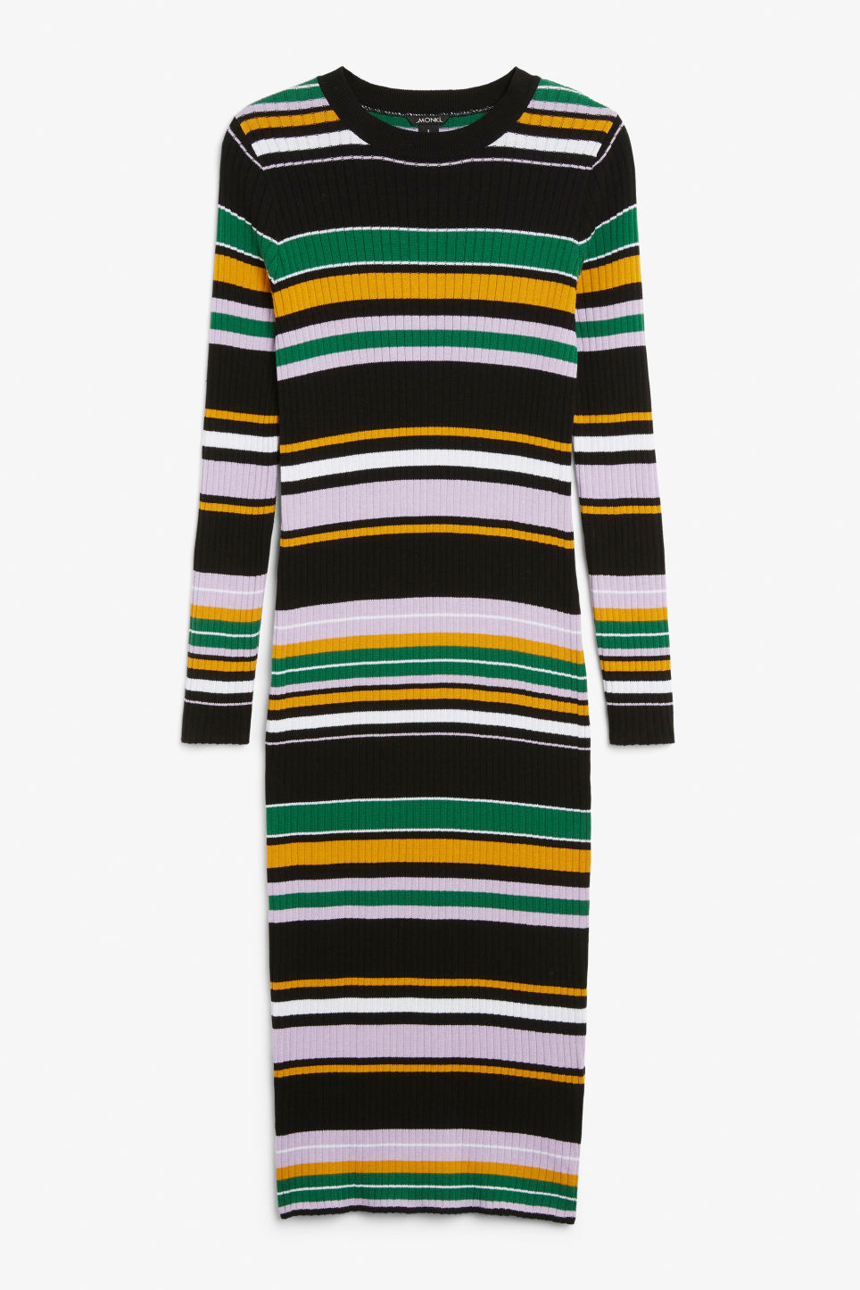 Front image of Monki long stretchy dress in black