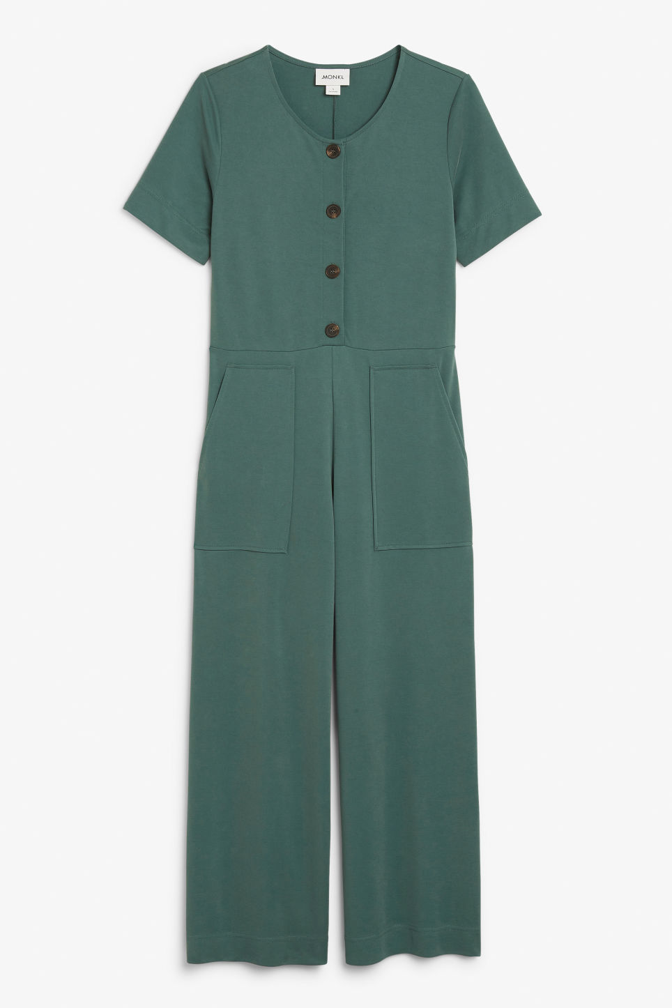 Front image of Monki wide-legged jumpsuit in green