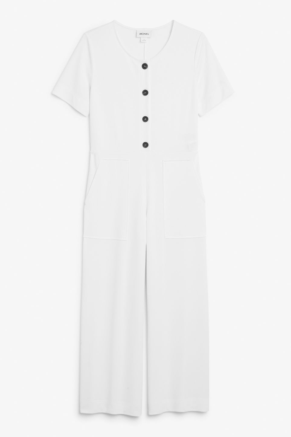 Front image of Monki wide-legged jumpsuit in white