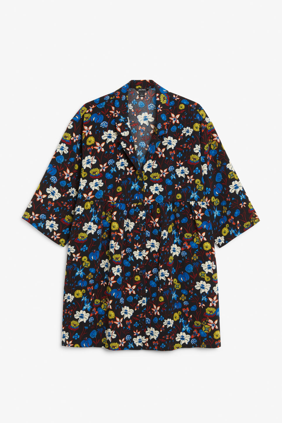 Front image of Monki flowy buttoned dress in black