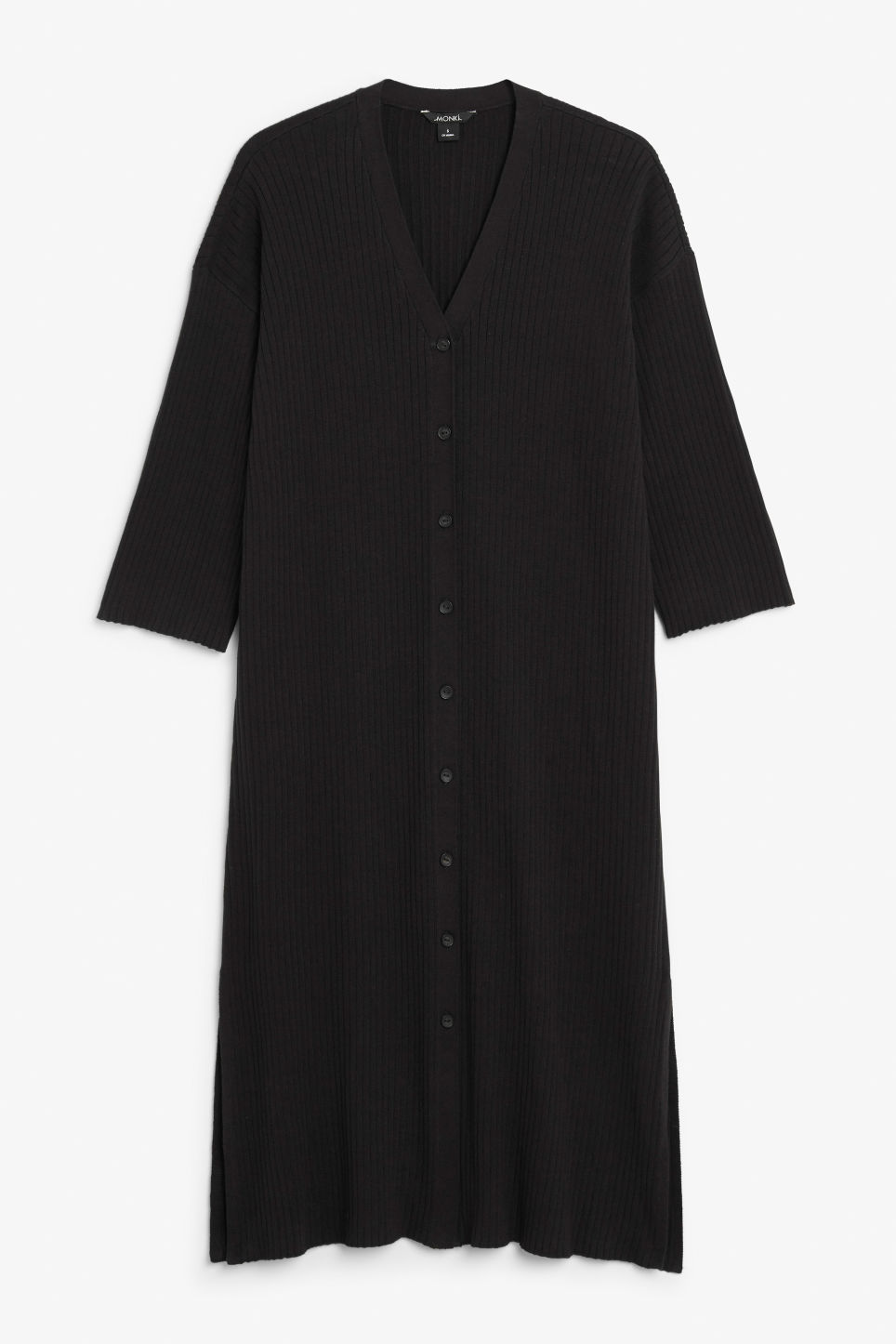 Front image of Monki side slit cardigan dress in black