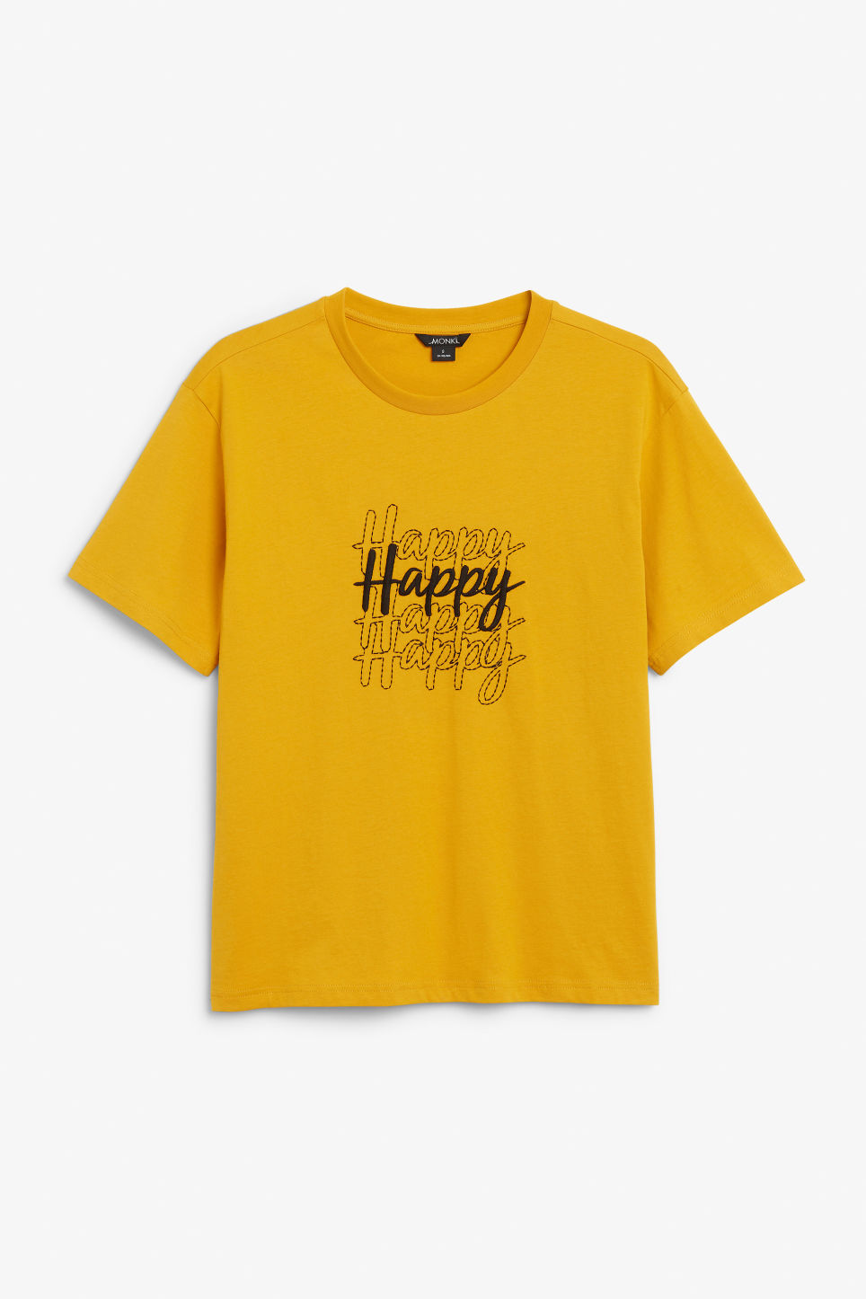 Front image of Monki cotton tee in yellow