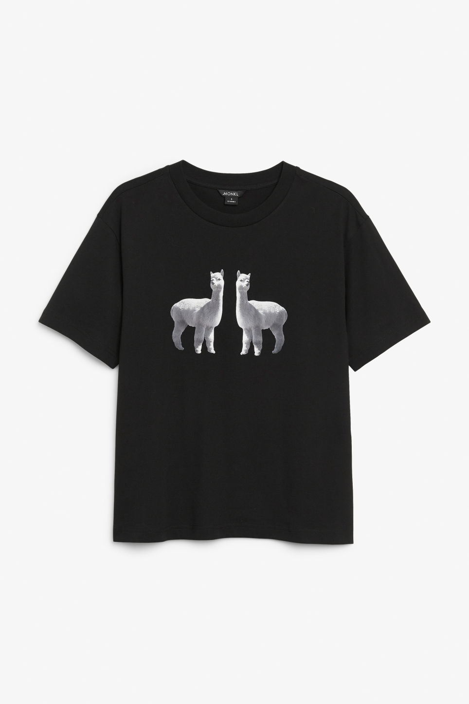 Front image of Monki organic cotton tee in black