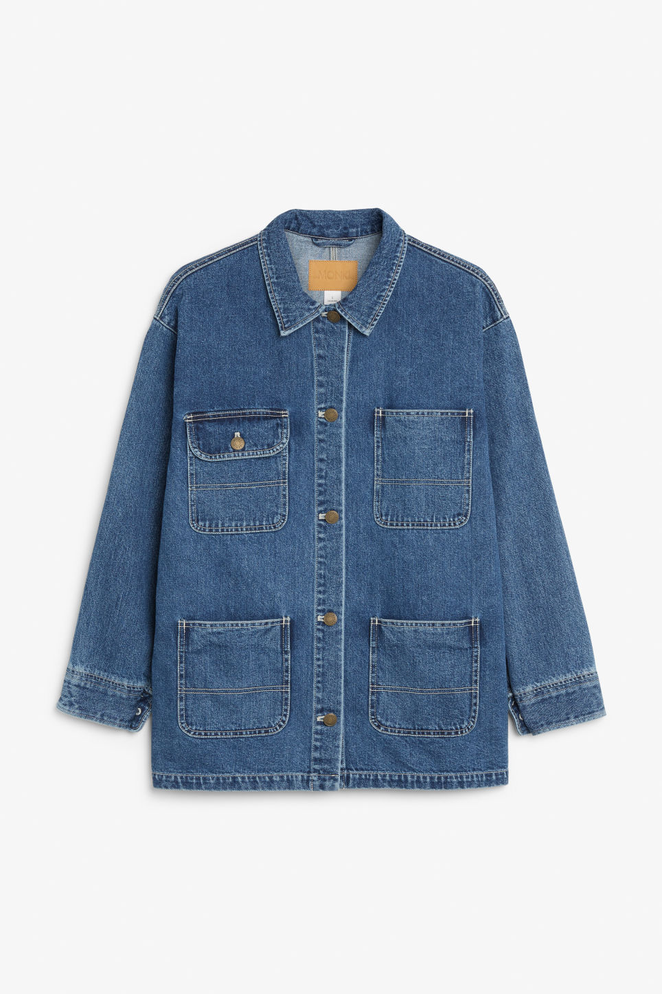 Front image of Monki utility jacket in blue