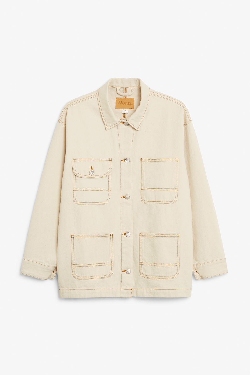 Front image of Monki denim utility jacket in white