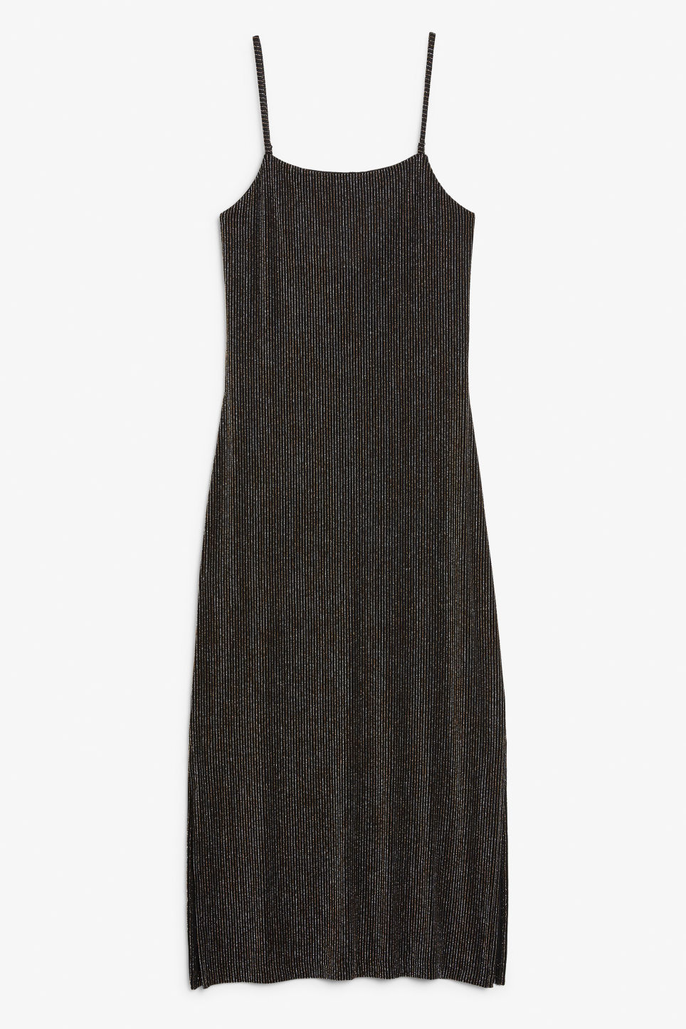 Front image of Monki side slit dress in black