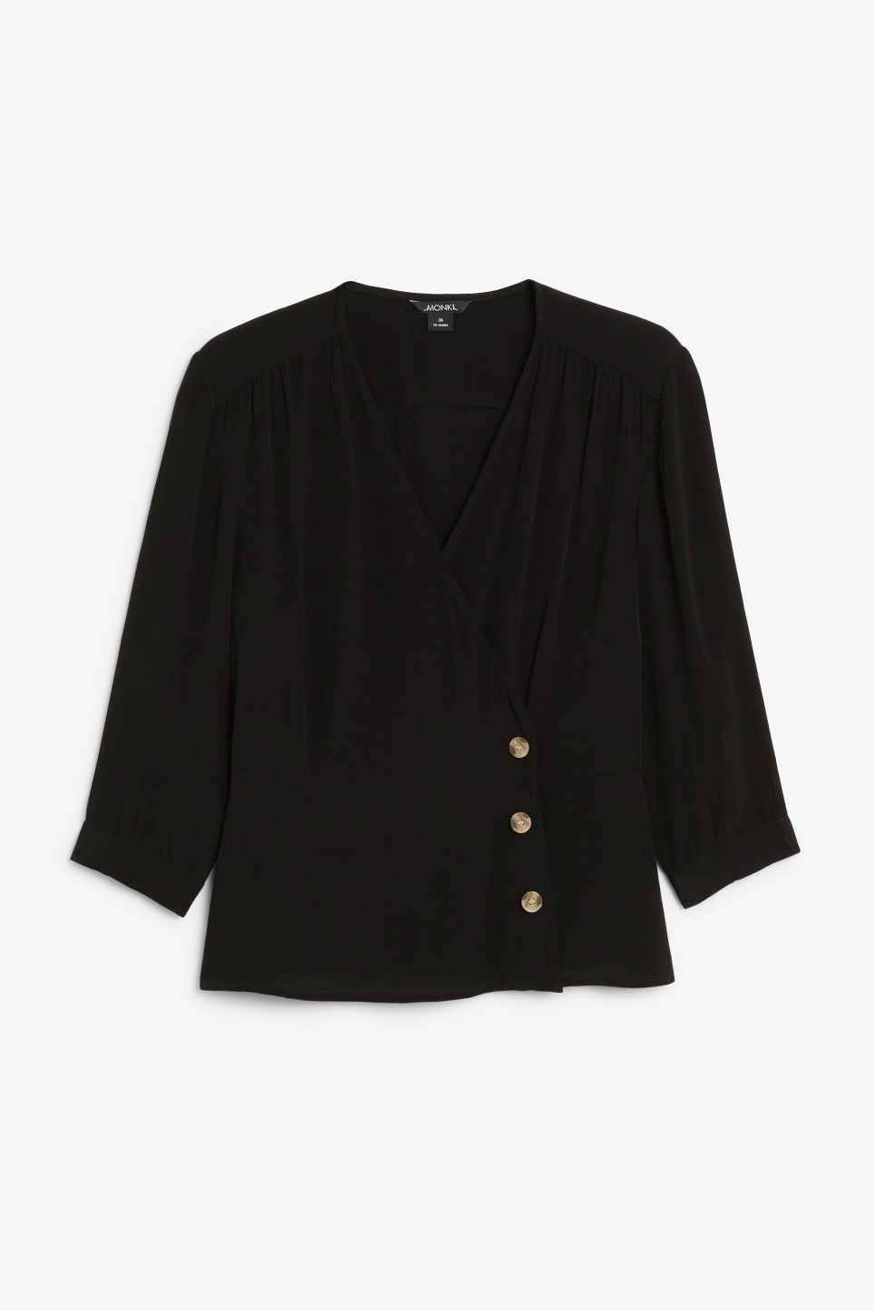 Front image of Monki button up wrap blouse in black