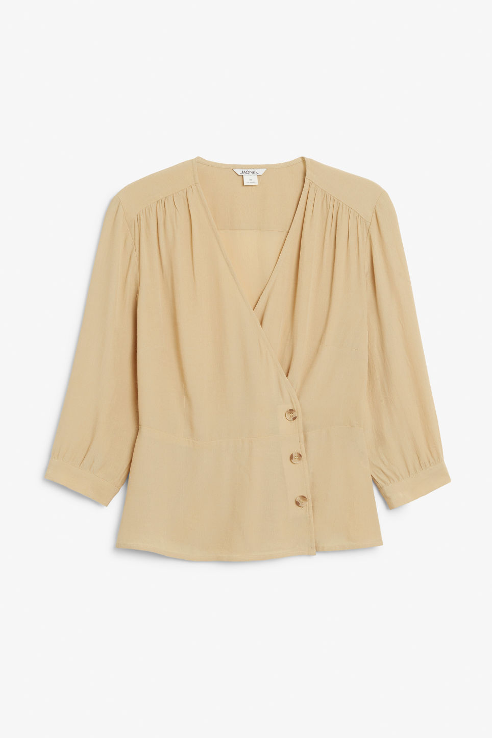 Front image of Monki button up wrap blouse in beige