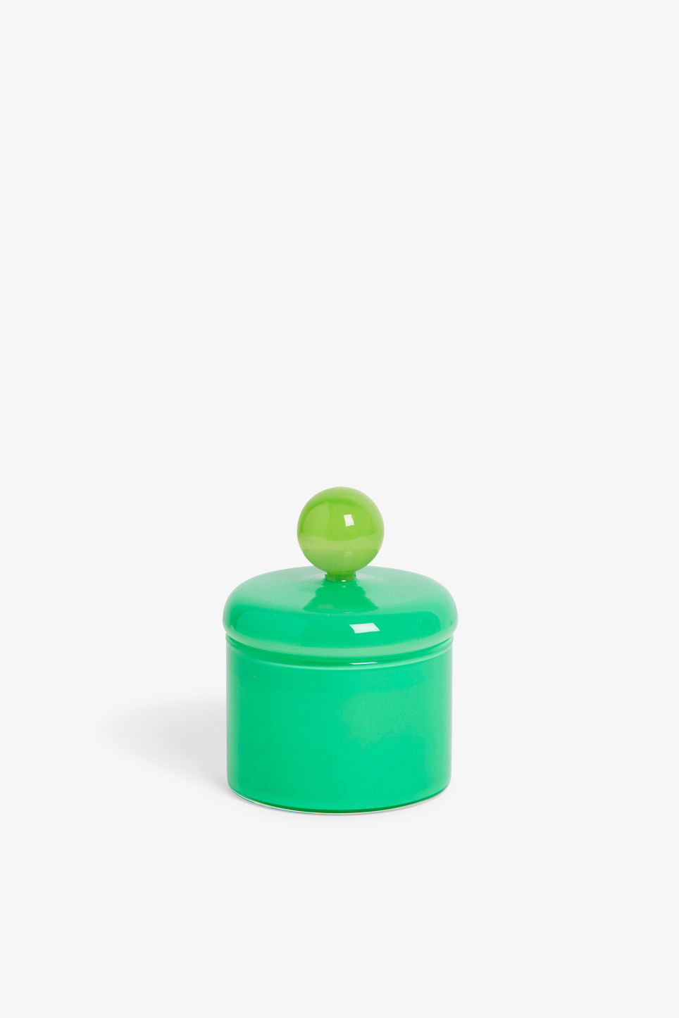 Front image of Monki round glass box  in green