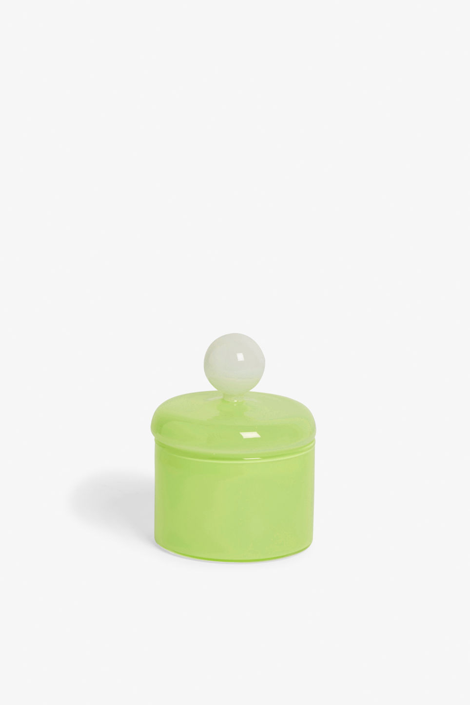 Front image of Monki round glass box  in yellow