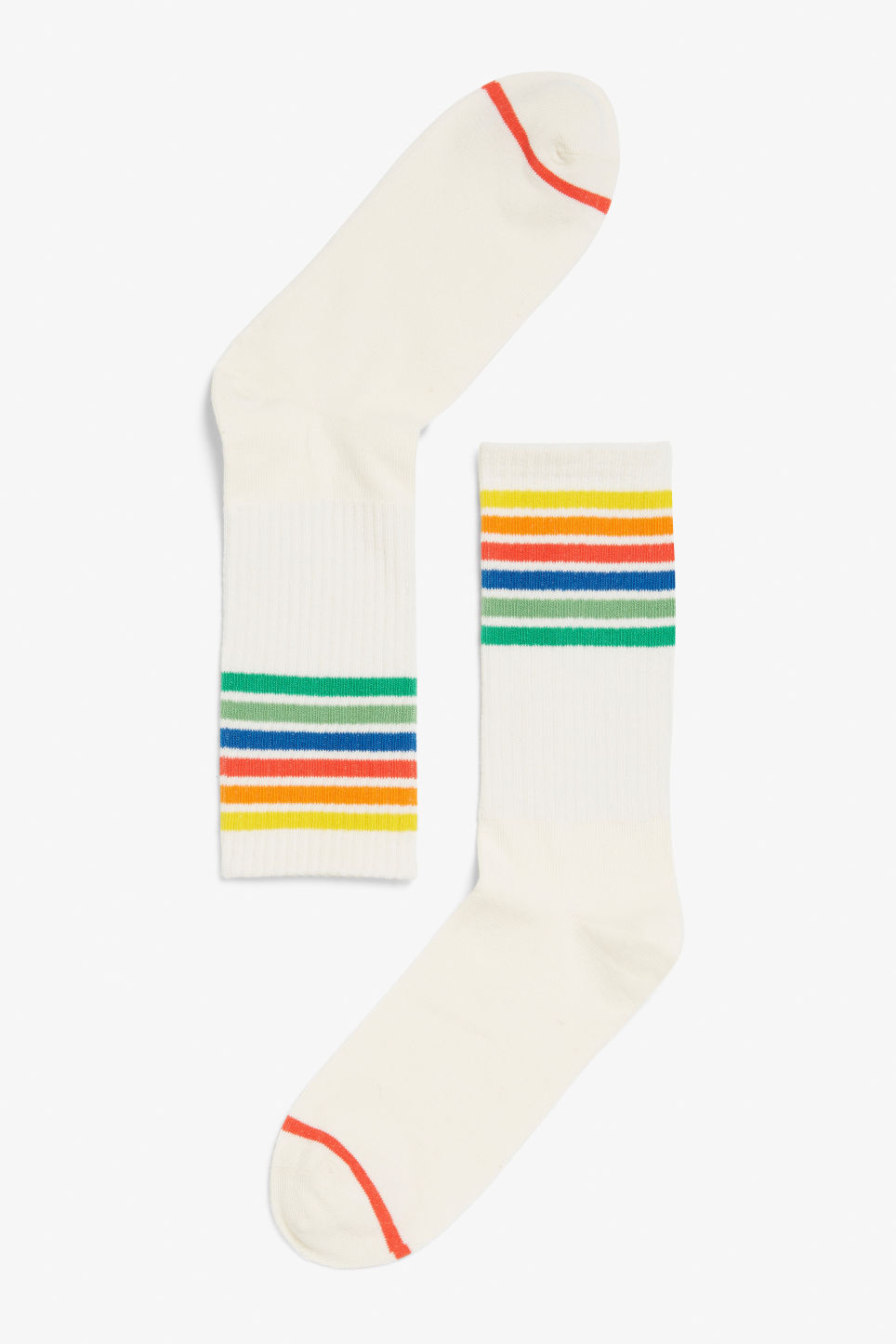 Front image of Monki sporty socks in white