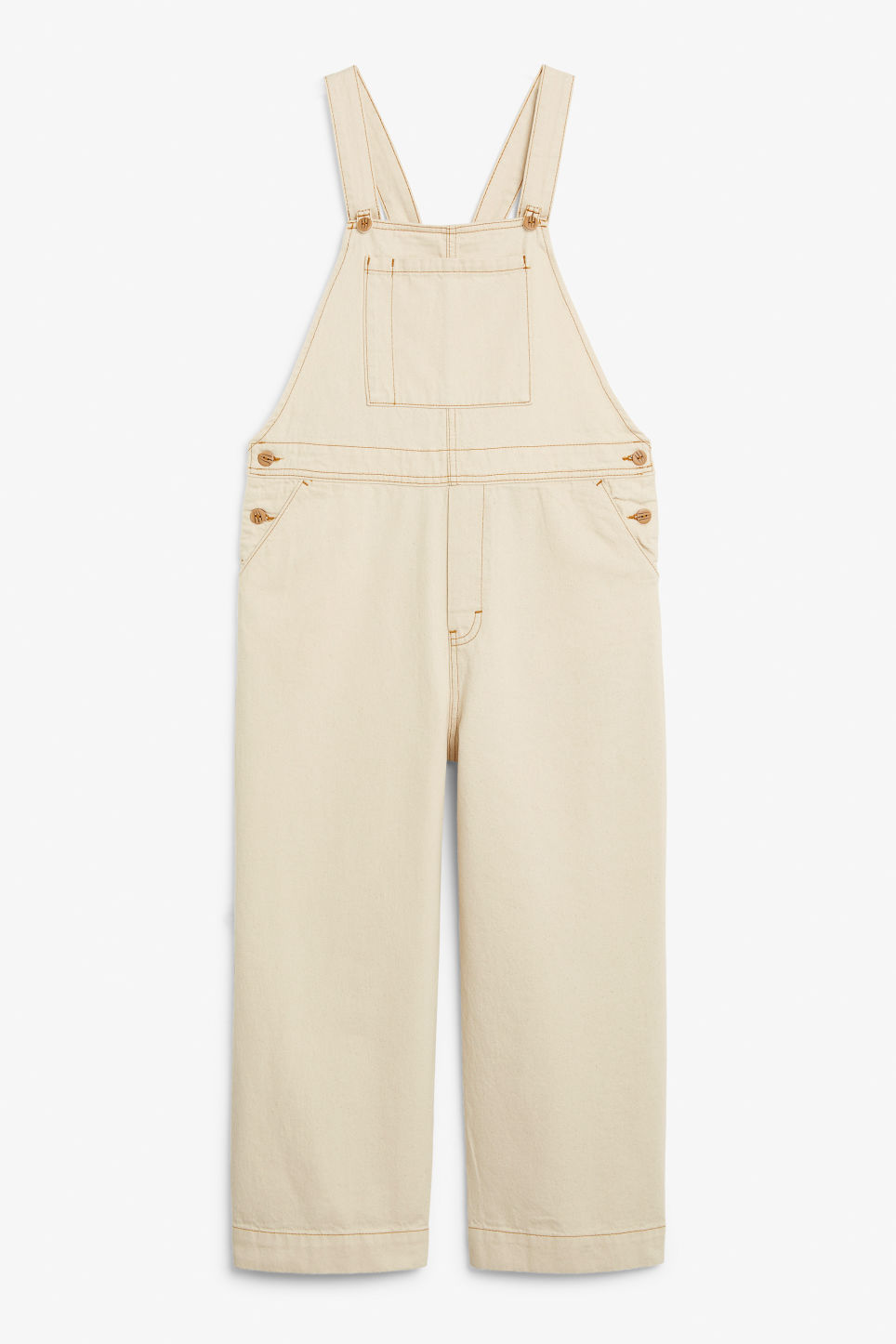 Front image of Monki classic denim dungarees in white