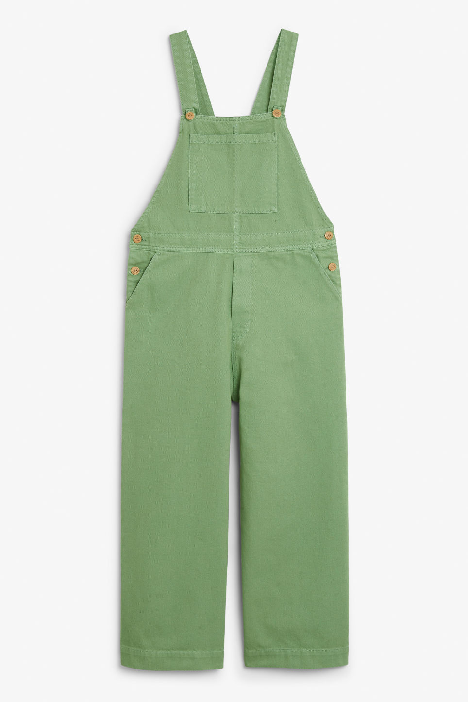 Front image of Monki classic denim dungarees in green