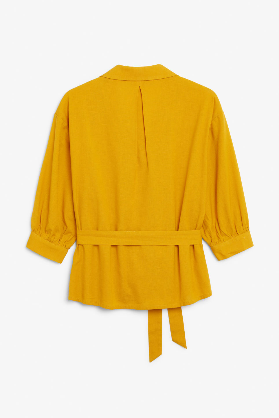 Back image of Monki tie waist top in yellow