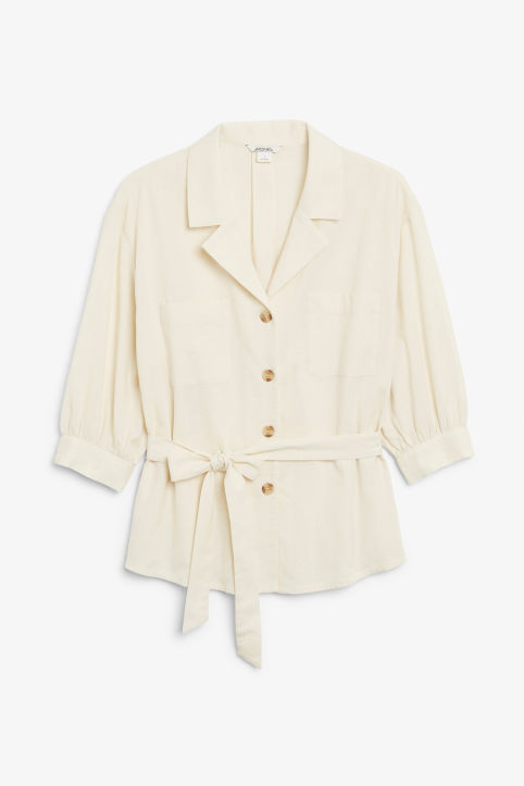 Front image of Monki tie waist top in beige
