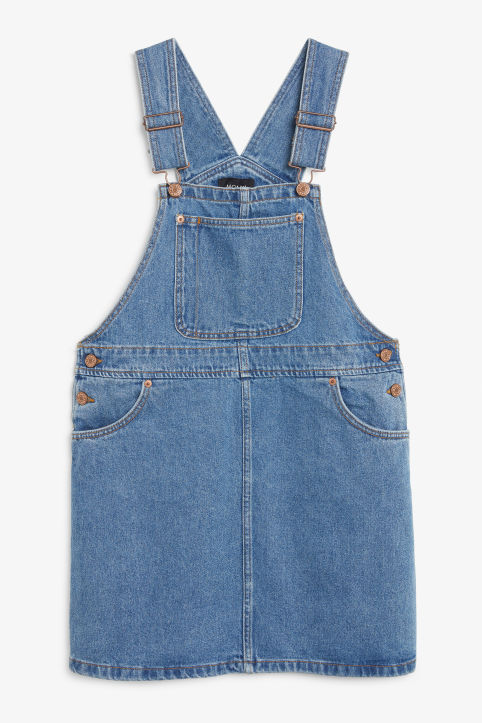 Front image of Monki denim dungaree dress in blue