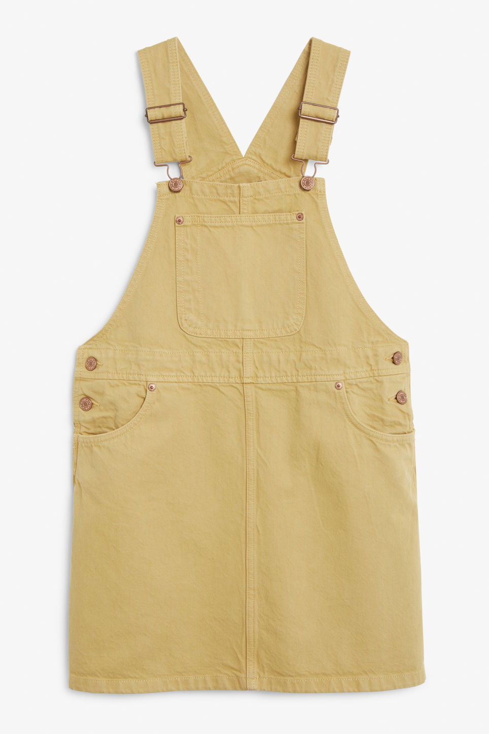 Front image of Monki denim dungaree dress in yellow