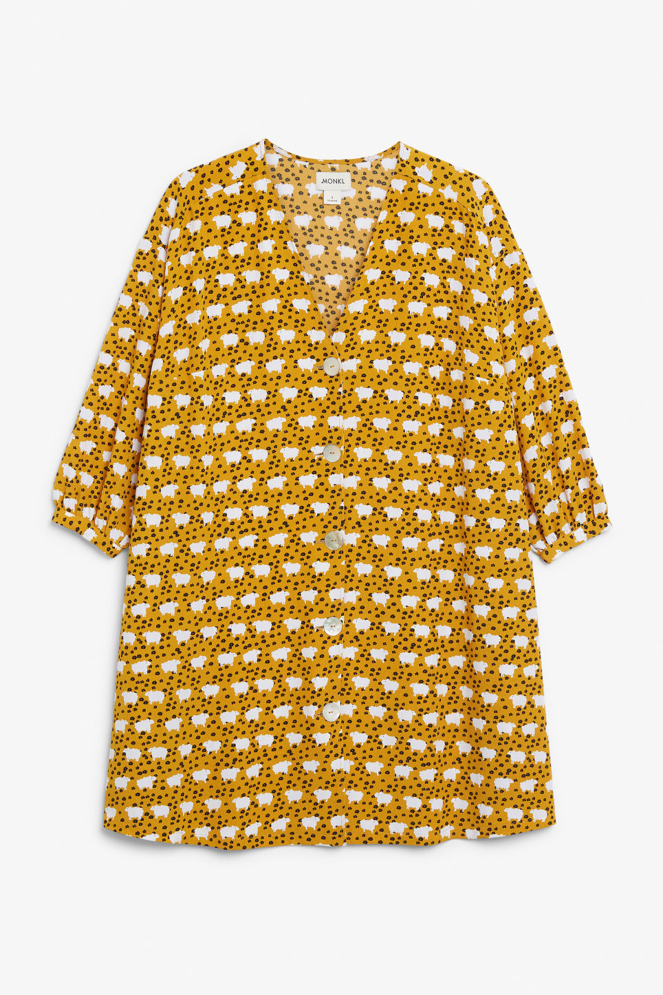 Front image of Monki buttoned v-neck dress in yellow