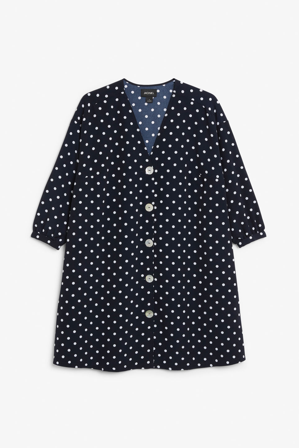 Front image of Monki buttoned v-neck dress in blue