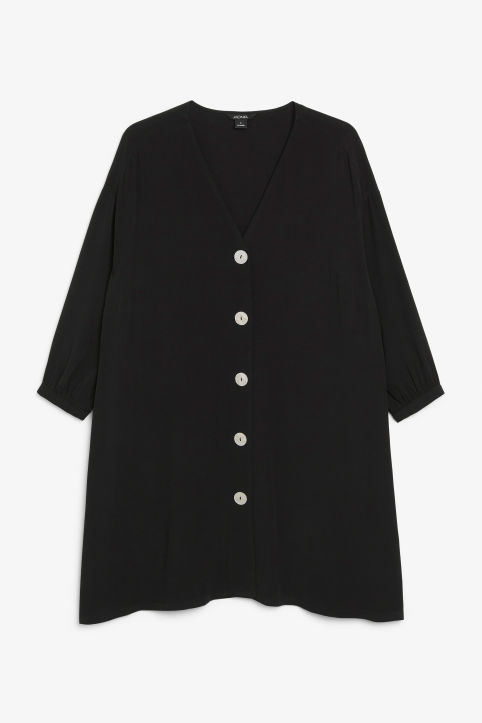 Buttoned V-neck dress