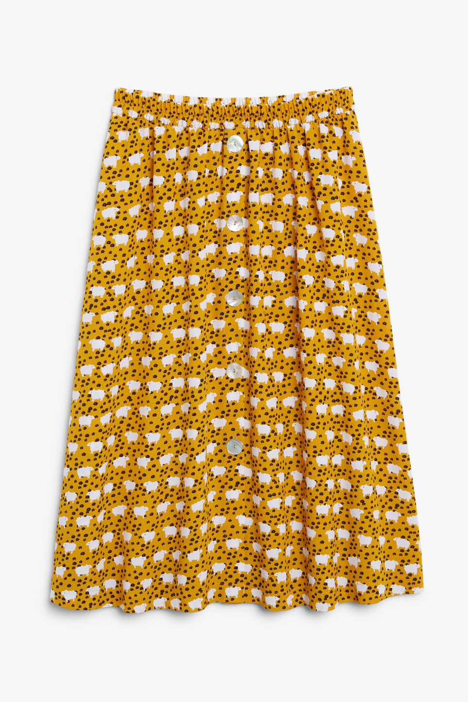 Front image of Monki pearl effect button skirt in yellow