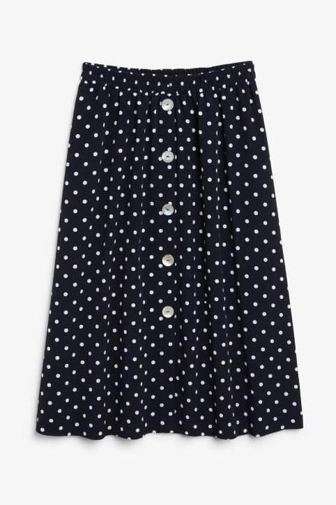 Pearl effect button skirt