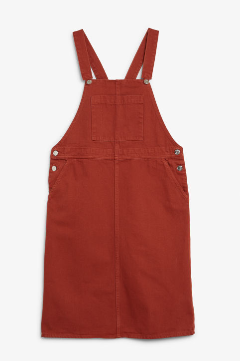 Front image of Monki denim dungaree dress in orange
