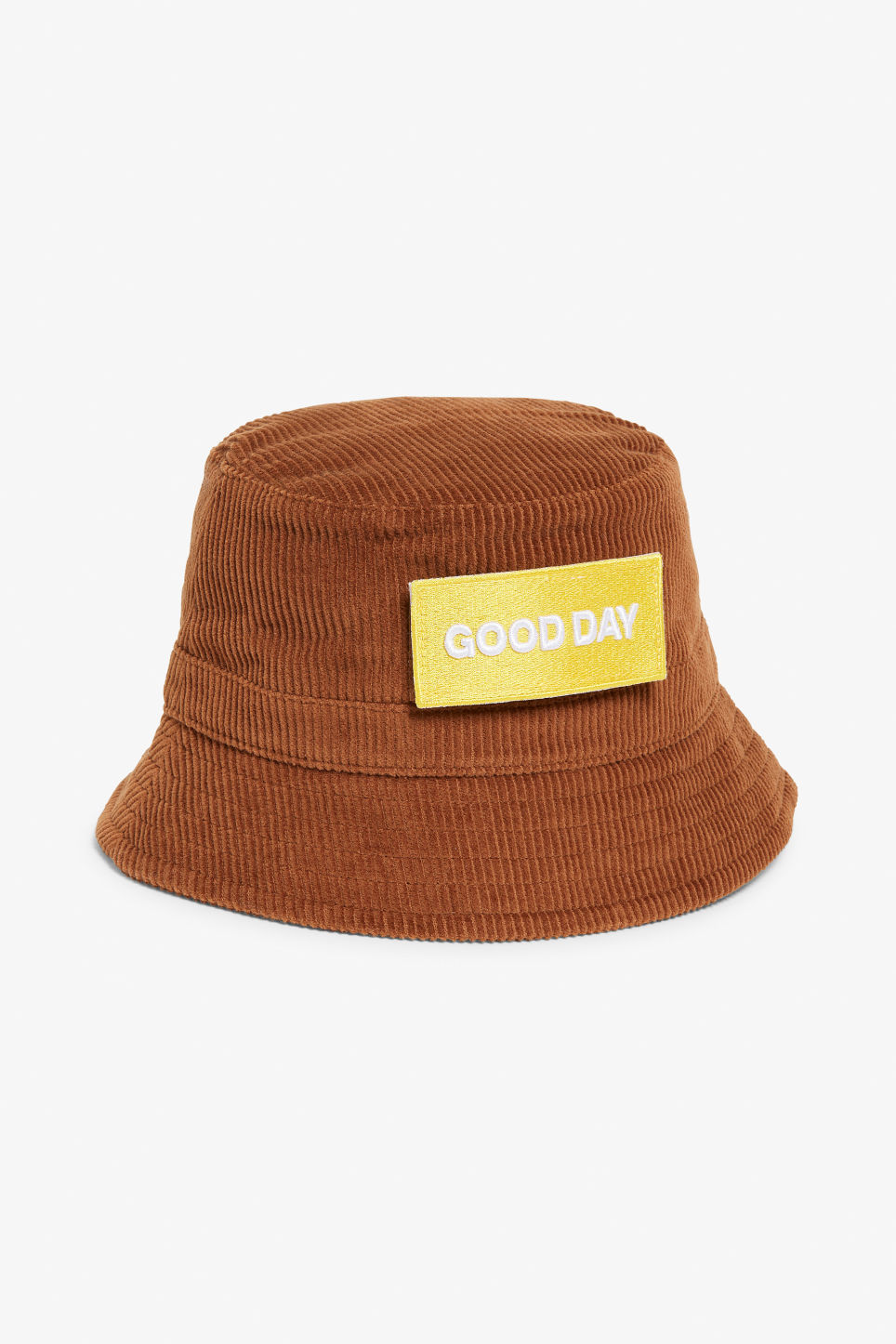 Front image of Monki corduroy hat in orange