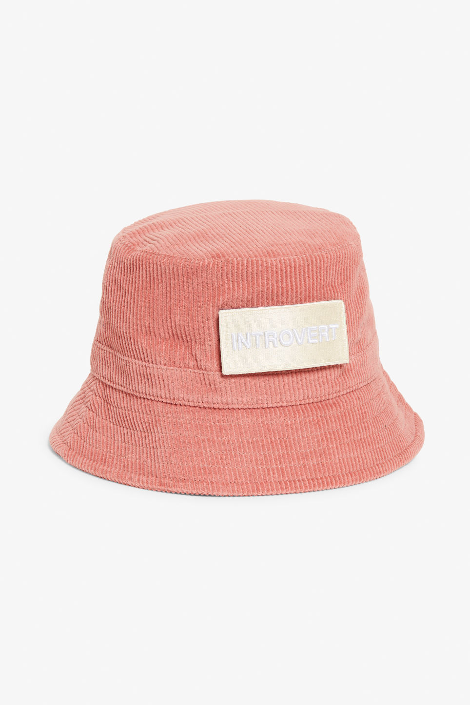 Front image of Monki corduroy hat in pink