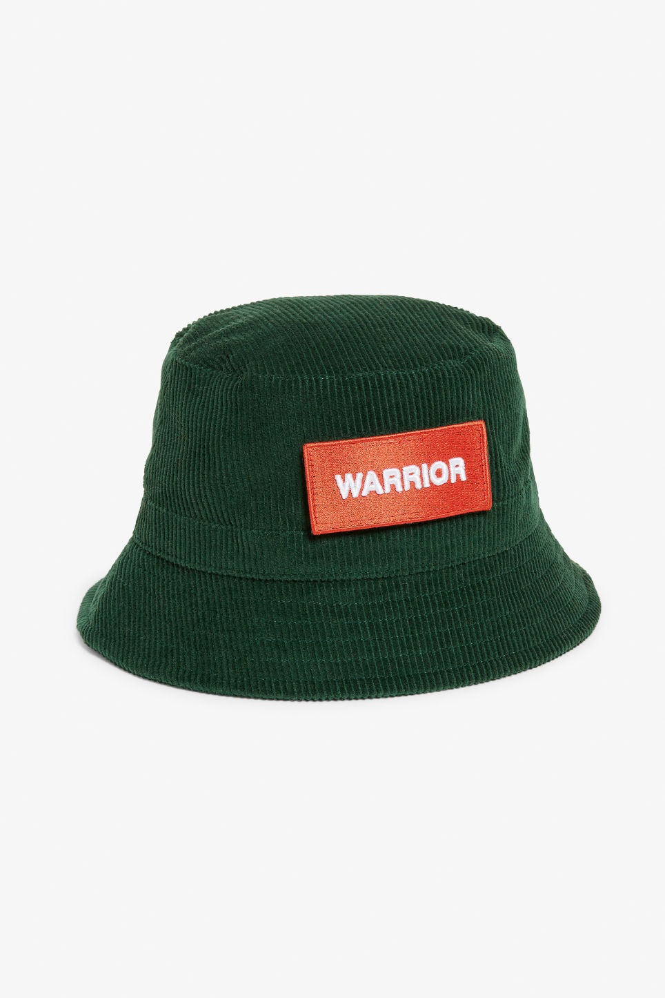 Front image of Monki corduroy hat in green