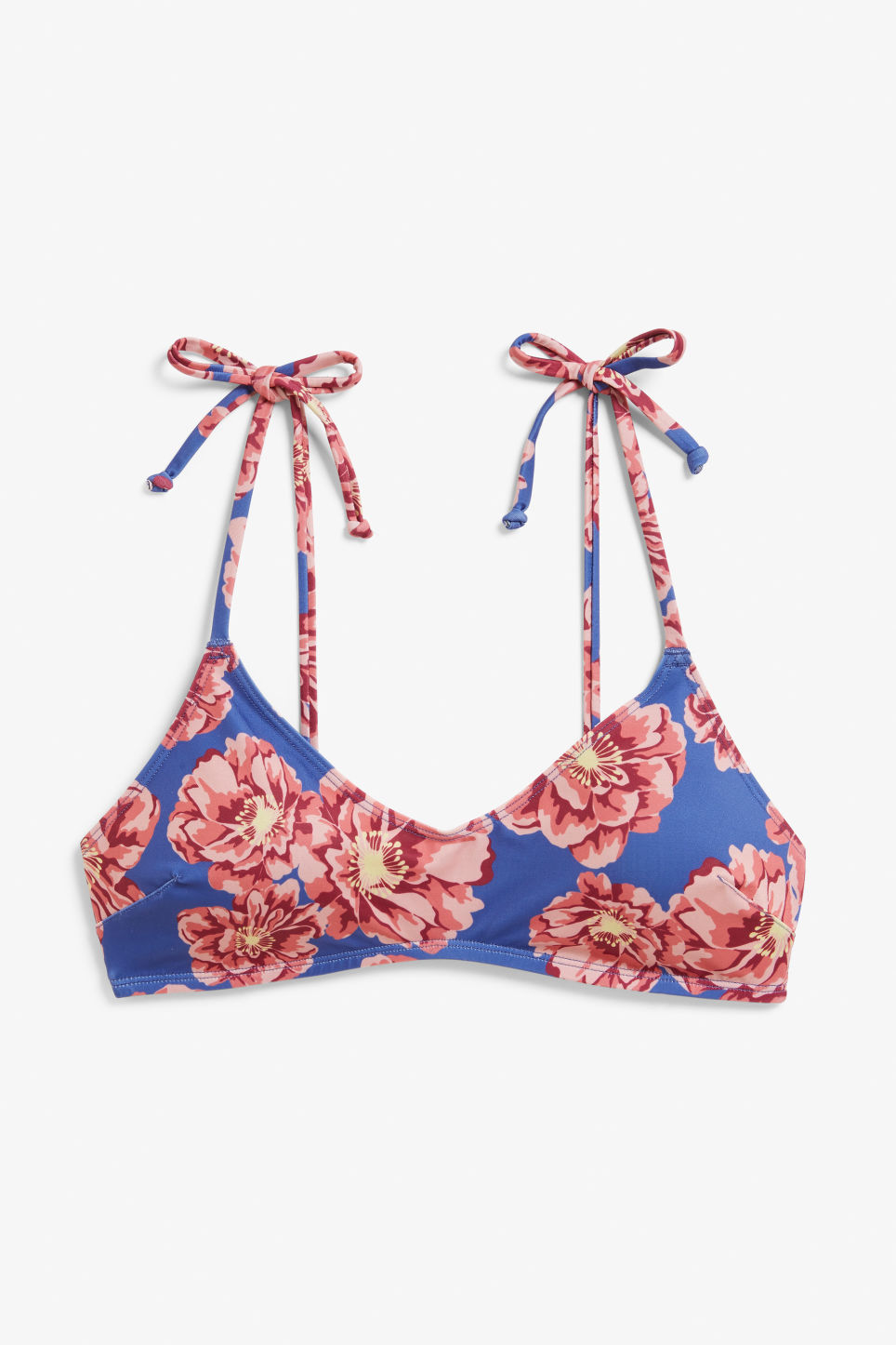 Front image of Monki padded bikini top in red