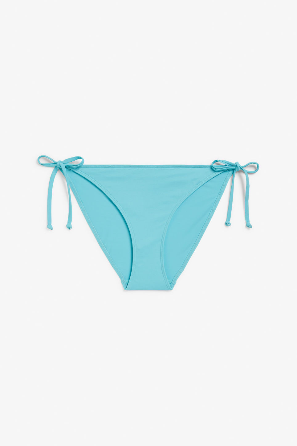 Front image of Monki side tie bikini briefs in turquoise