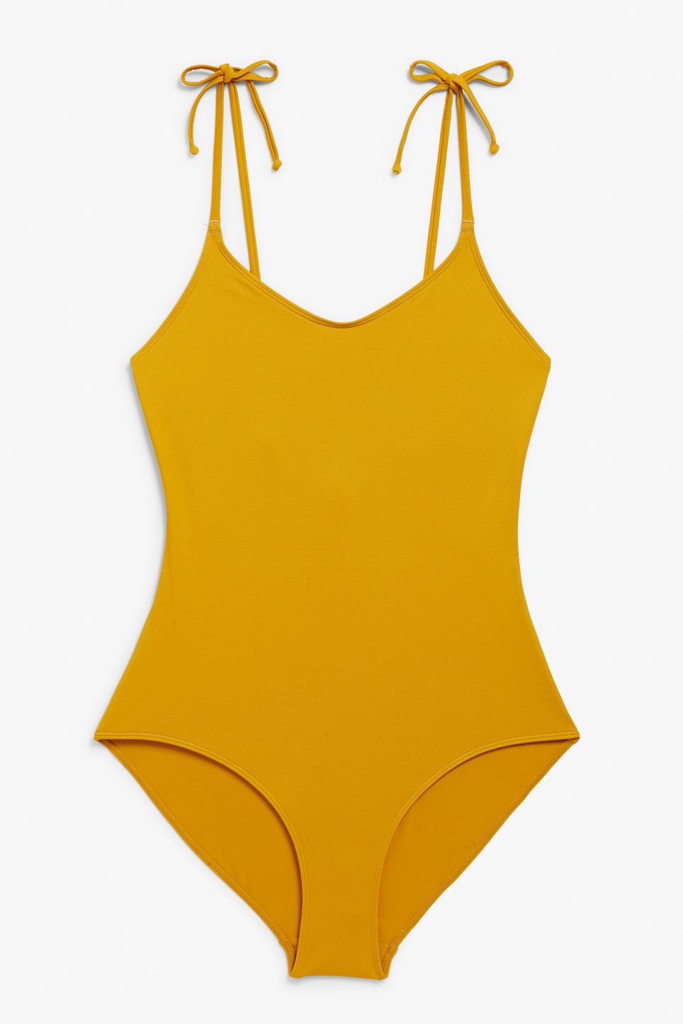 Front image of Monki tie shoulder swimsuit in yellow