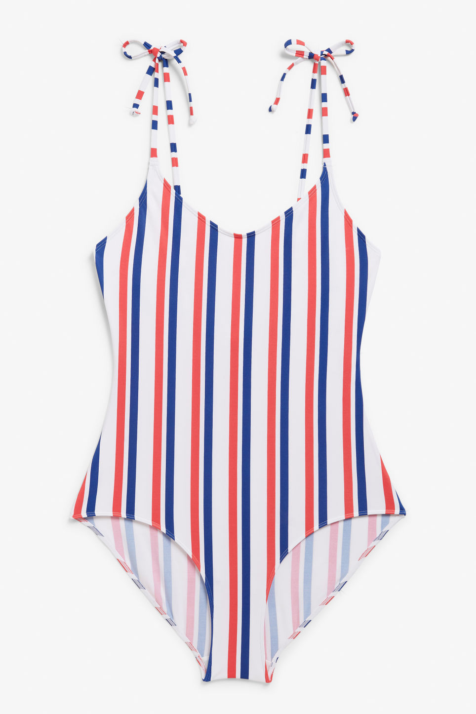 Front image of Monki tie shoulder swimsuit in blue