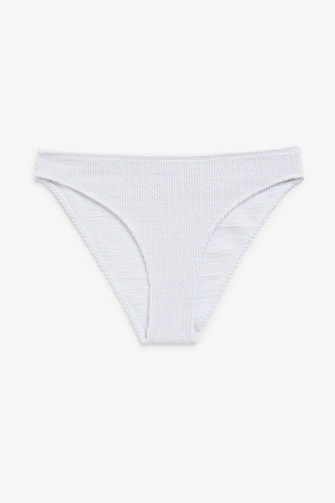 Front image of Monki shirred high-legged bikini briefs in white