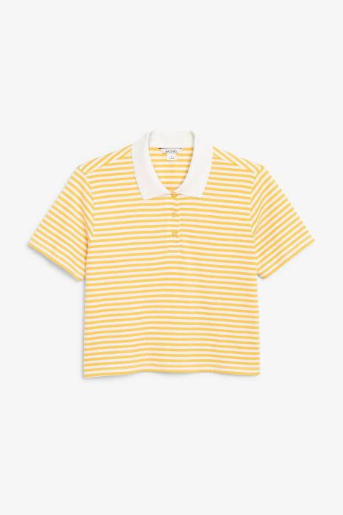 Front image of Monki cropped pique polo shirt in yellow