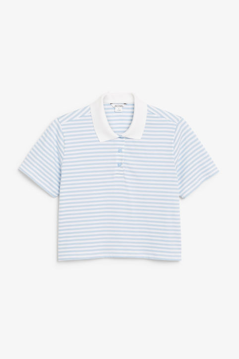 Front image of Monki cropped pique polo shirt in blue