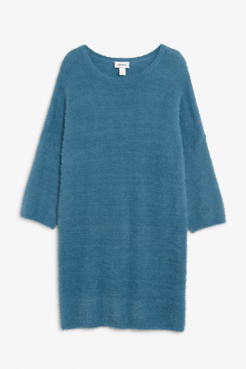 Front image of Monki fluffy sweater dress in blue