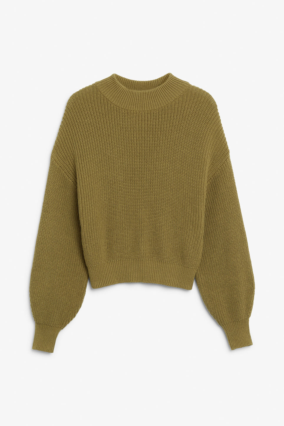 Front image of Monki back button sweater in beige