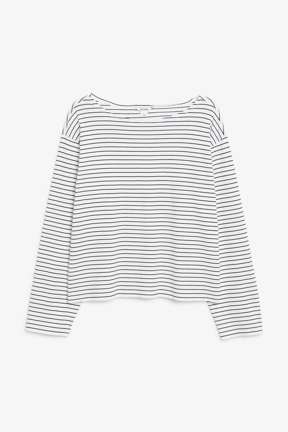 Front image of Monki boat neck top in white