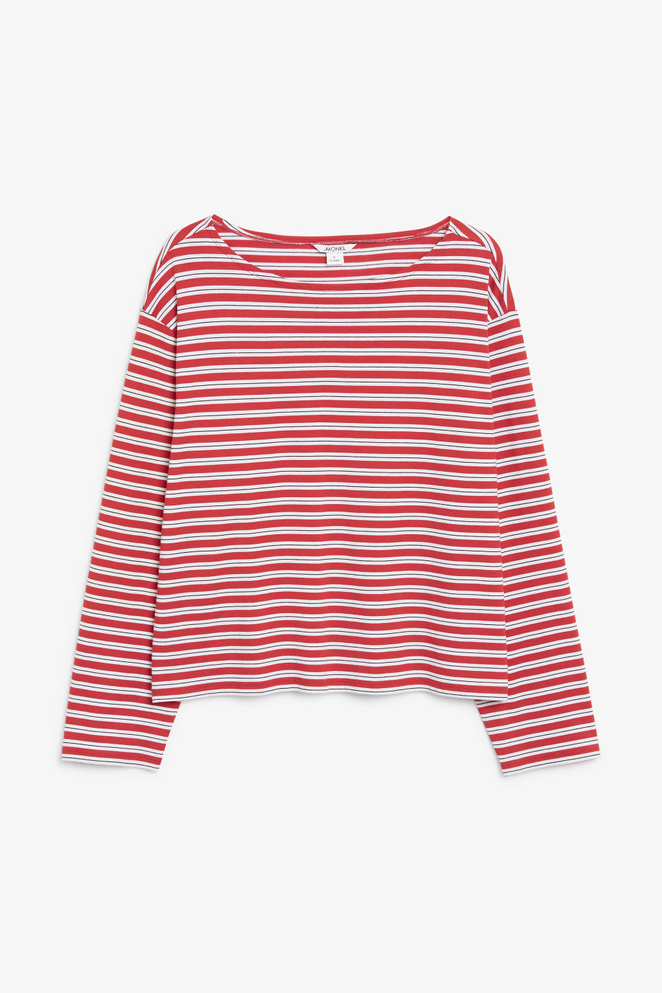 Front image of Monki boat neck top in red