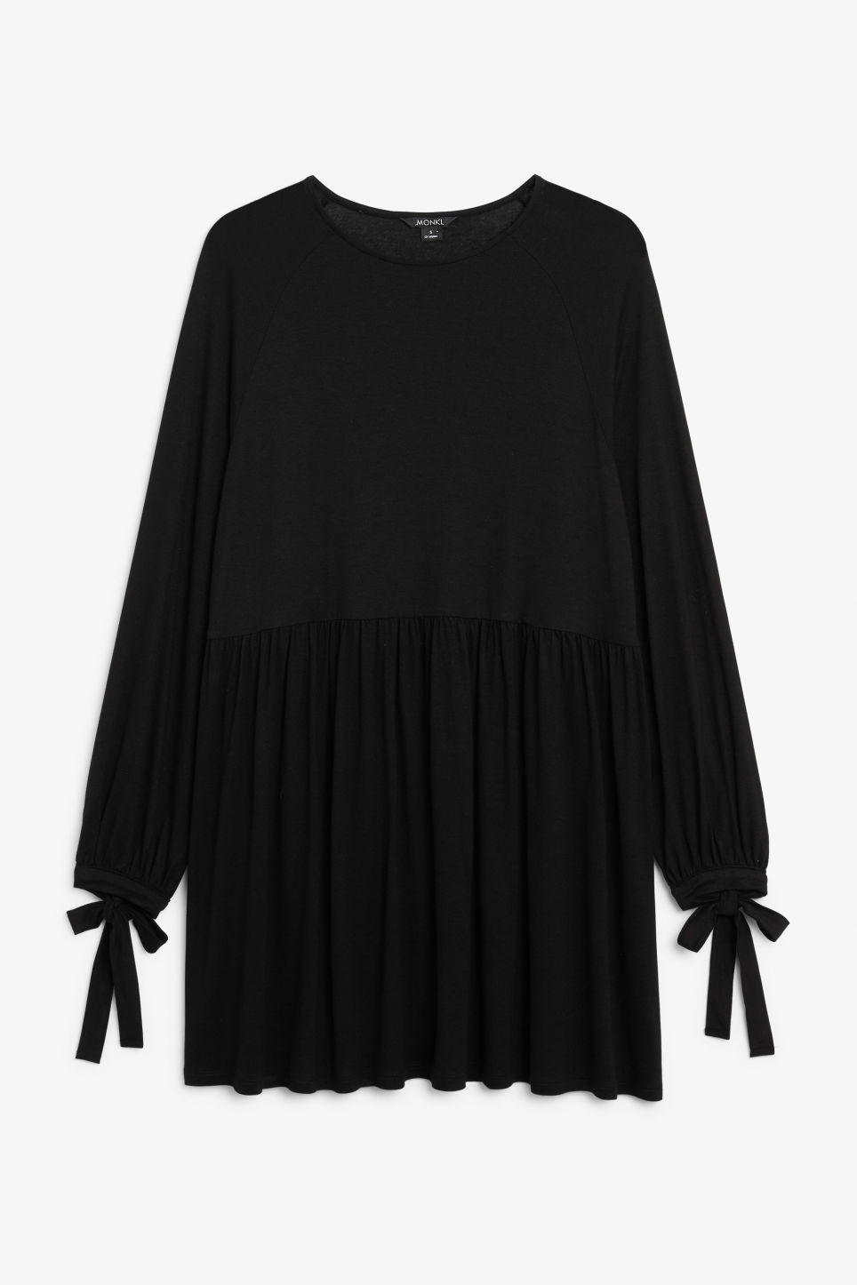 Front image of Monki flowy tie cuff dress in black